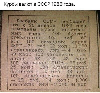 1986 - Курсы валют - 28 января 1986 г.