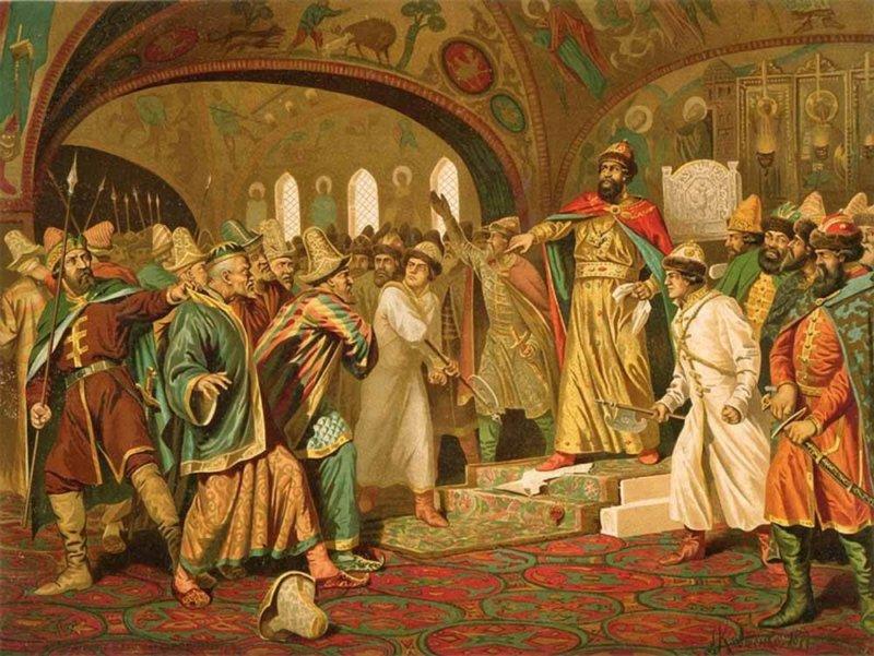 А.Д. Кившенко. Иоанн III разрывает ханскую грамоту и топчет басму перед татарскими послами.