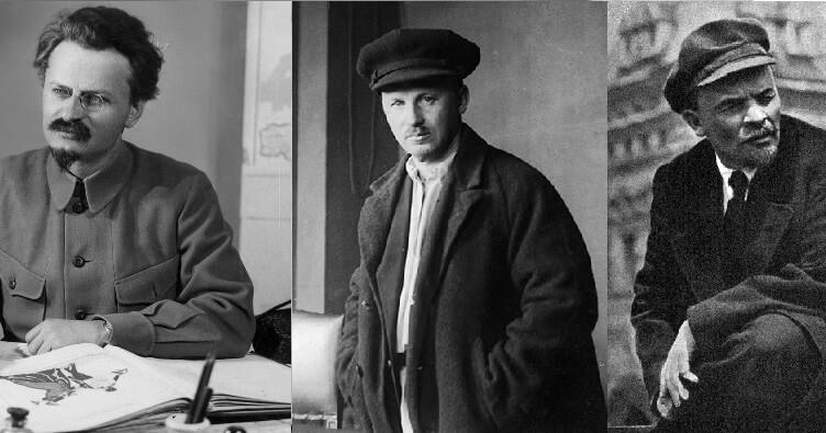 Л.Д.Троцкий (1879-1940), Н.И.Бухарин (1888-1938), В.И.Ленин (1870-1924)