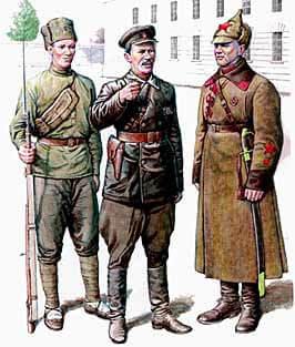 Образцы одежды военнослужащих войск ВЧК. Рисунки выполнены на основе фотографий периода 1918-1920 годов.