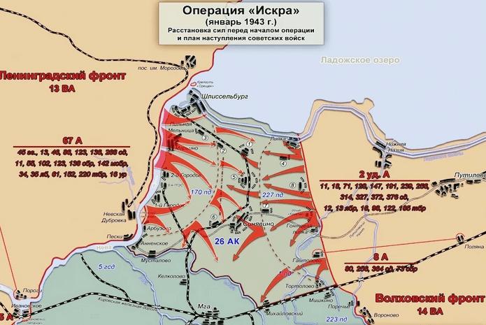Операция Искра январь 1943 карта