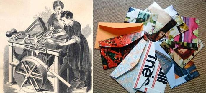 Первая машина изготавливающая конверты