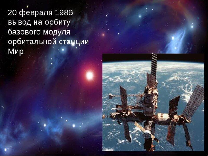 20 февраля 1986 выведен на орбиту базовый блок орбитальной станции Мир