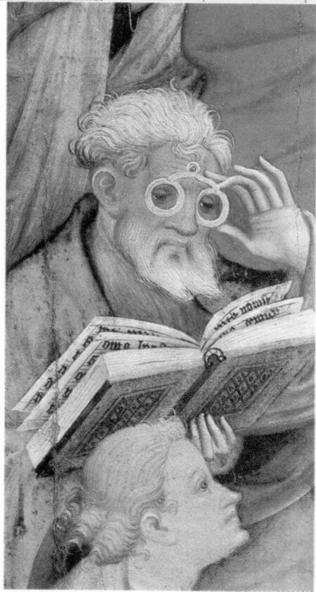 Фрагмент алтаря 1404 года в Бад-Вильдунгене, с изображением Конрада фон Зеста в очках