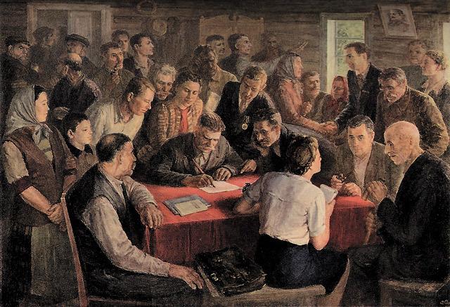 В. Дилка. Организационное собрание колхоза.