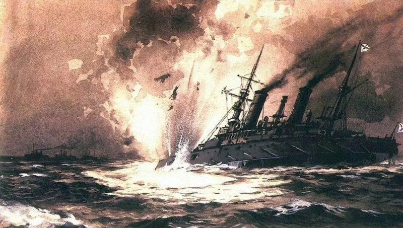 13 апреля 1904 года в ходе русско-японской войны в районе Порт-Артура подорвался на мине и затонул броненосец Петропавловск