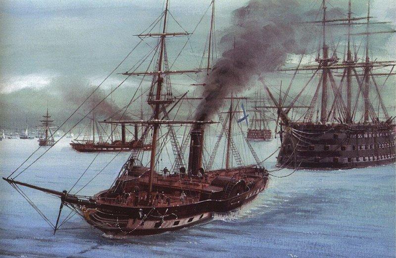 1823 - В Николаеве заложен первый русский паровой военный корабль Метеор