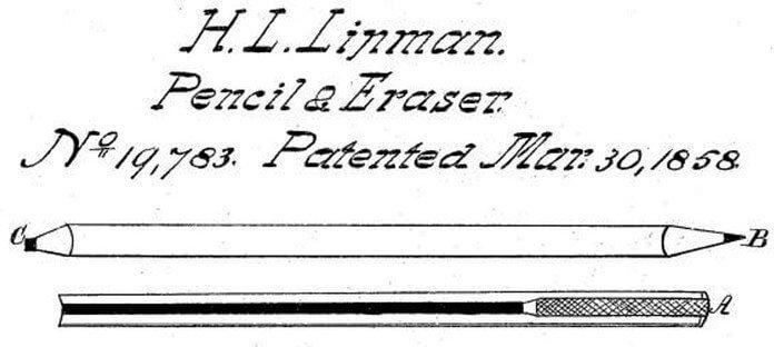 1858 - Хаймен Липман из Филадельфии запатентовал карандаш со стирающей резинкой на другом конце