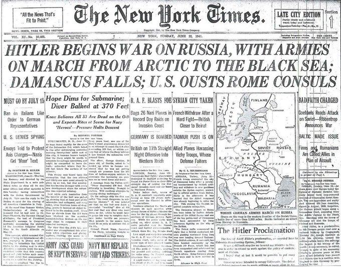 3 апреля 1941 года. Уинстон Черчилль предупреждает Сталина о немецком вторжении.