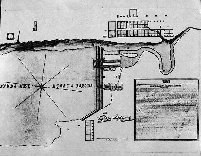 Первый план Ижевского железоделательного завода. 1764 год