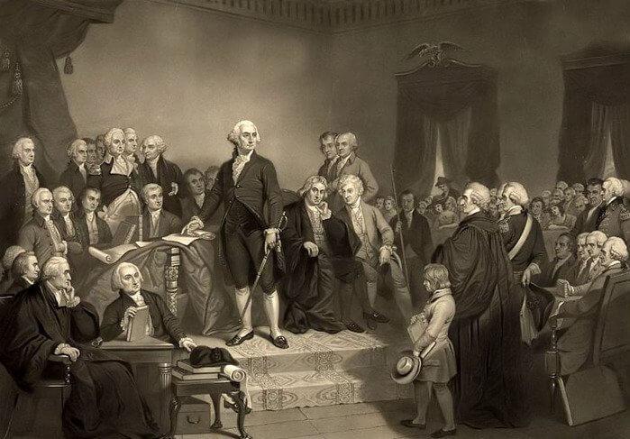 1789 - Джордж Вашингтон был единогласно избран первым президентом США