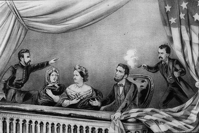 1865 - На спектакле Наш американский кузен (в театре Форда) сторонник южан актёр Джон Уилкс Бут проник в президентскую ложу и выстрелил Линкольну в голову