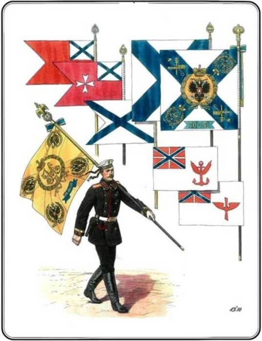 1894 - Утвержден флаг воздухоплавательных частей, ставший первым официальным символом Воздушного флота России.