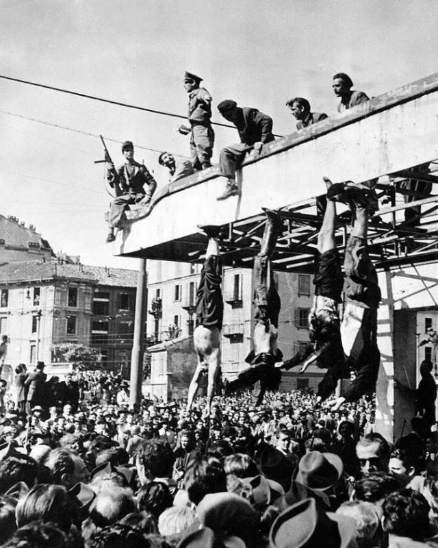 1945 - В 16 часов 10 минут на окраине деревни Меццегра казнены итальянский диктатор Бенито Муссоллини и его любовница аристократка Клара Петаччи