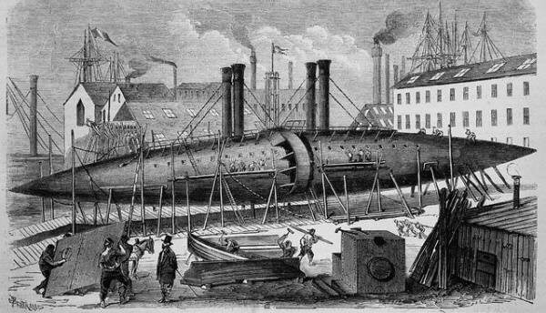 Строительство судна-сигары гравюра