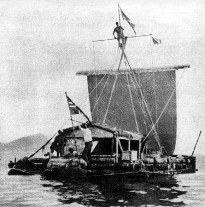 Тур Хейердал отправился в путешествие на плоту