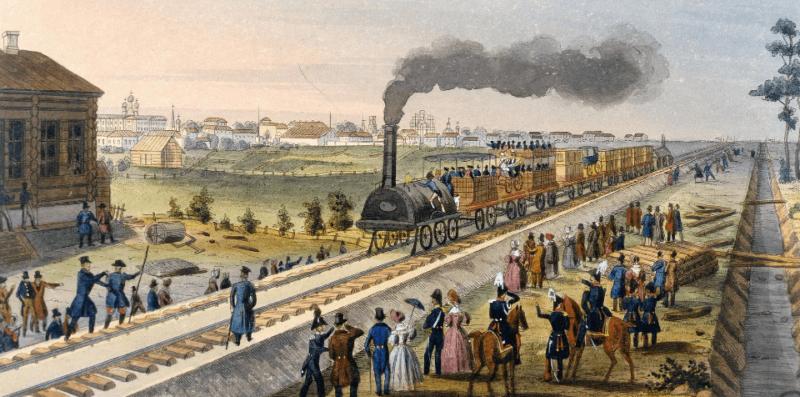 13 мая 1836 года началось строительство первой в России железной дороги по маршруту Петербург-Царское Село-Павловск.