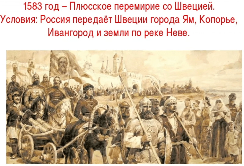 1583 - Россия и Швеция заключили Плюсское перемирие, завершившее Ливонскую войну (Россия потеряла выход в Балтийское море)