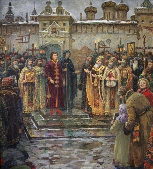 1613 - В воскресенье в Москву въехали избранный на царство Михаил Федорович и его мать инокиня Марфа.