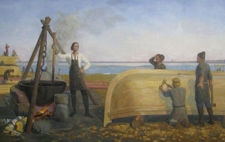 1692 - Спуск первого военного корабля на Руси