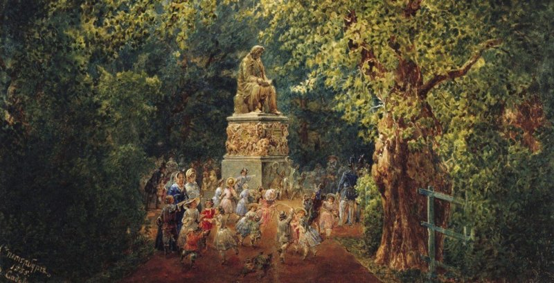 1855 - Открытие памятника И.А. Крылову в Летнем саду.