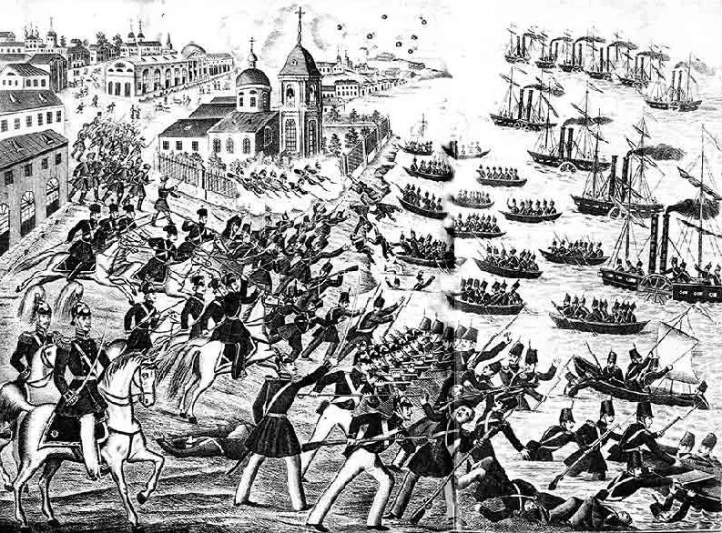 1855 - В период Крымской войны 1853-1856 годов русские войска отразили попытку англо-французских кораблей