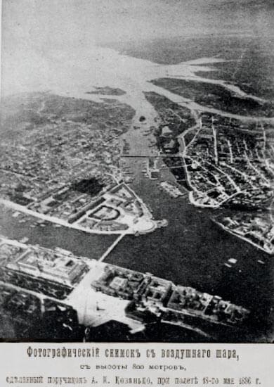 1886 - Фотоснимок Санкт-Петербурга с воздушного шара с высоты 800 м