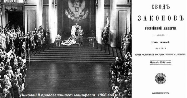 1906 - Николай II утвердил свод Основных государственных законов Российской империи