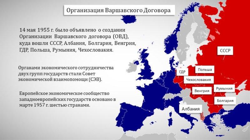 1955 - В Варшаве был подписан Договор о дружбе, сотрудничестве и взаимной помощи представителями Албании, Болгарии, Венгрии, ГДР, Польши, Румынии, СССР и Чехословакии.