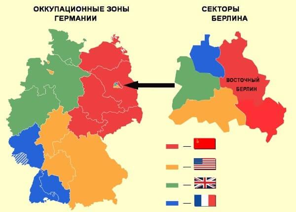 5 июня 1945 года военачальники союзных держав Жуков, Эйзенхауэр, Монтгомери и Латр де Тассиньи подписали в Берлине Декларацию о поражении Германии