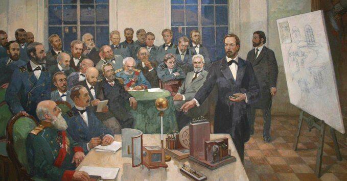 7 мая 1895 года российский физик Александр Степанович Попов на заседании физико-химического общества продемонстрировал беспроводную удалённую регистрацию электромагнитных колебаний