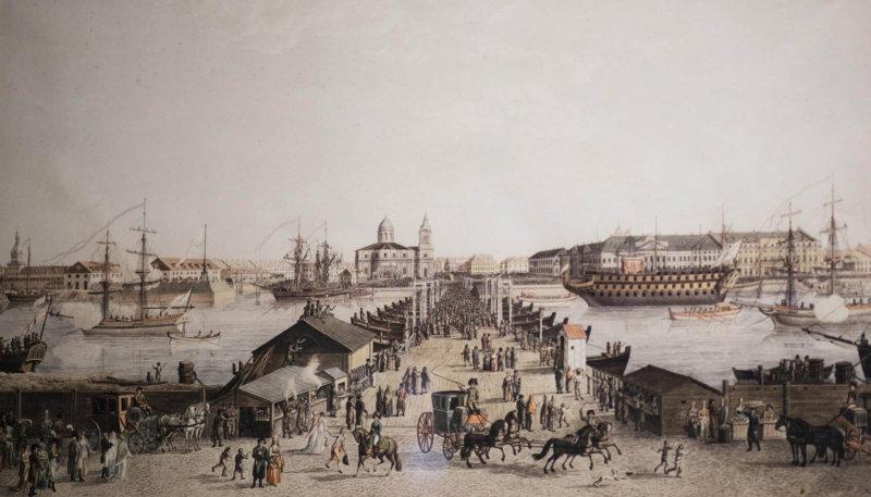 Исаакиевский мост и панорама Адмиралтейской набережной в день 16 мая 1803 года