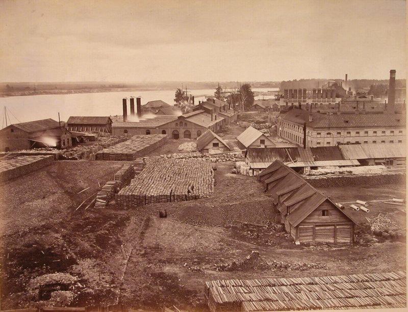 Общий вид зданий на территории завода. Обуховский сталелитейный завод (конец 1860-х - 1890-е)
