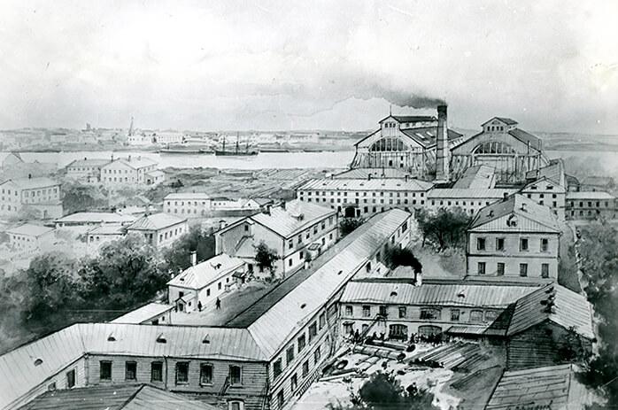 Панорама Балтийского завода в 70-х годах XIX века