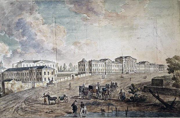 Военный госпиталь в Лефортово. Акварель Ф.Я. Алексеева