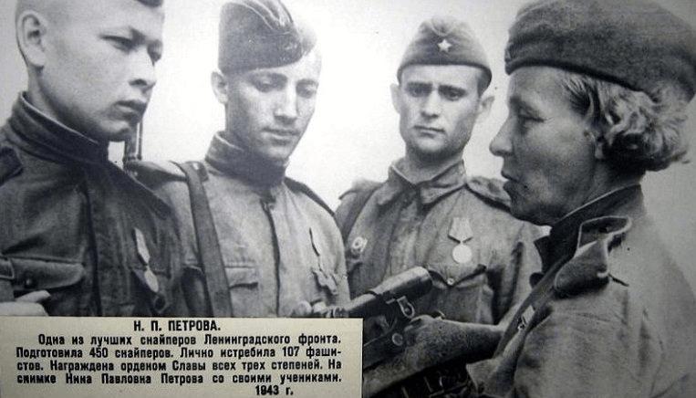 13 июня 1943 года практический экзамен у молодых ленинградских снайперов после окончания 3-дневных курсов