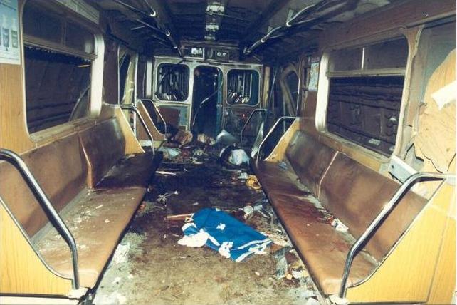 1996 - В Москве в вагоне метро на станции