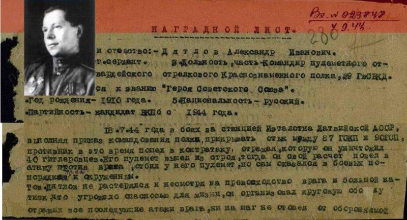 18 июля 1944 года, отражая контратаку противника, командир пулеметного отделения гвардии старший сержант Дятлов уничтожил 40 гитлеровцев.