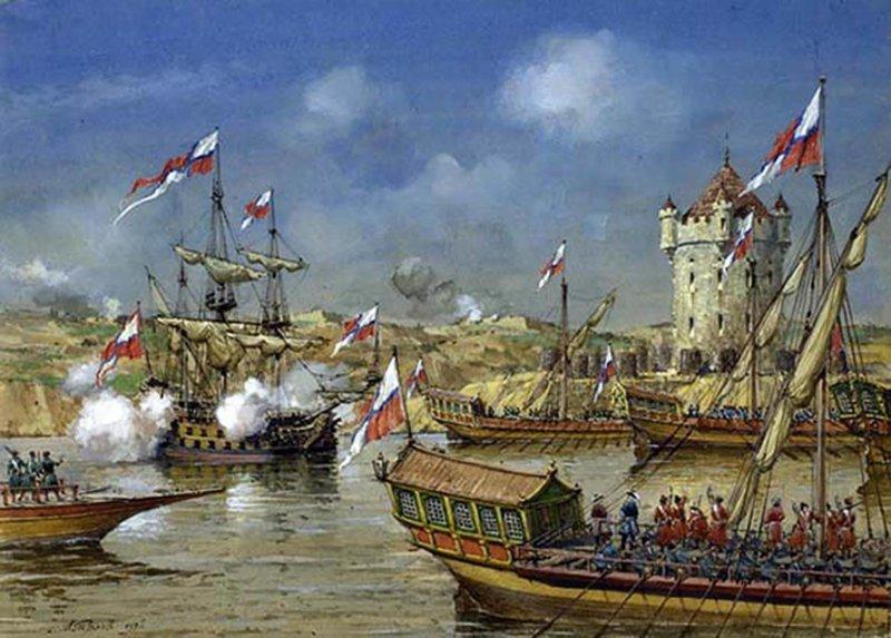 19 июля 1696 года русская армия овладевает Азовом после капитуляции турецкого гарнизона. Русско-турецкая война 1686—1700.