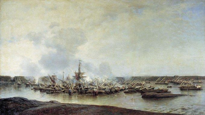 26 июля 1714 года русский флот Петра I одержал 1-ю морскую победу, разгромив шведов в Гангутском сражении. Великая Северная война.