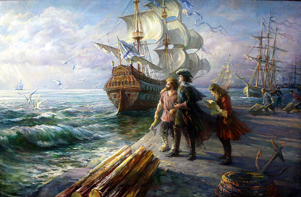Первый парад русского флота. 5 августа 1699