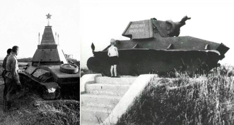 Самым первым танком-памятником стал разбитый Т-70