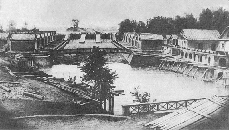 Старое изображение Охтинского порохового завода