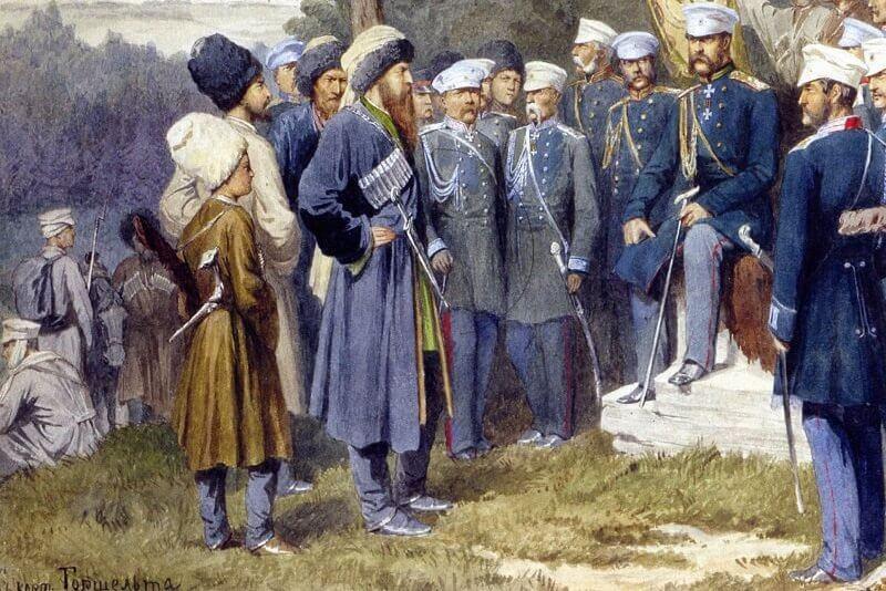6 сентября 1859 года в ауле Гуниб сдался на почетных условиях Шамиль. Кавказская война фактически завершилась.