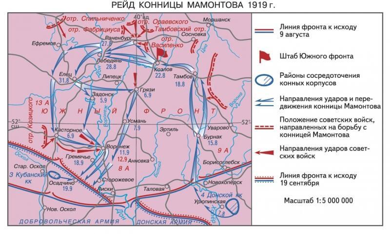 6 сентября 1919 г. белоказачий корпус генерала Мамонтова в ходе рейда по тылам красных занял узловую железнодорожную станцию Касторную.