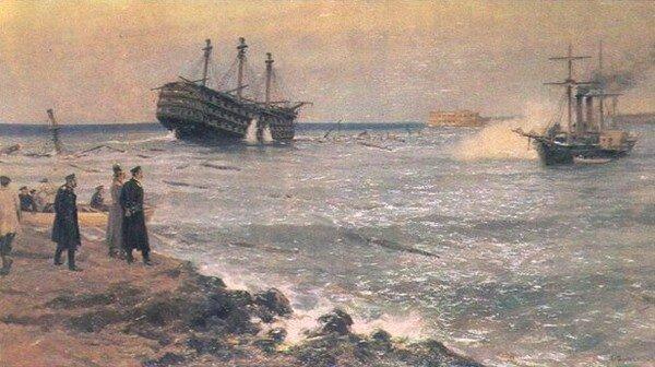 11 сентября 1854 года в ходе обороны Севастополя были затоплены первые 7 устаревших парусных кораблей из 16 вынужденно затопленных кораблей российского фло