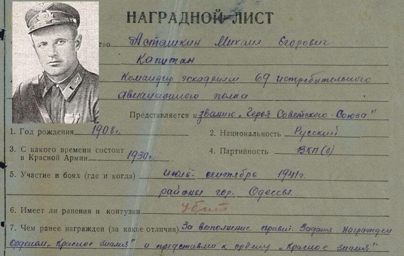 14 сентября 1941 года летчик Асташкин был подбит и, жертвуя жизнью, врезался в гущу врага близ хут