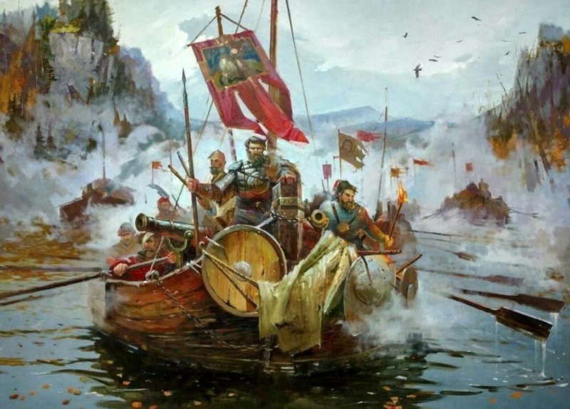 1581 - Отряд казаков, численностью около 840 человек, во главе с казачьим атаманом Ермаком Тимофеевичем выступил в поход на покорение Сибирского ханства