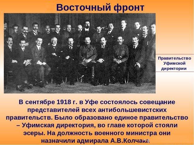 23 сентября 1918 года в Уфе Государственное совещание антибольшевистских сил создало Временное Всероссийское Правительство (Директория)