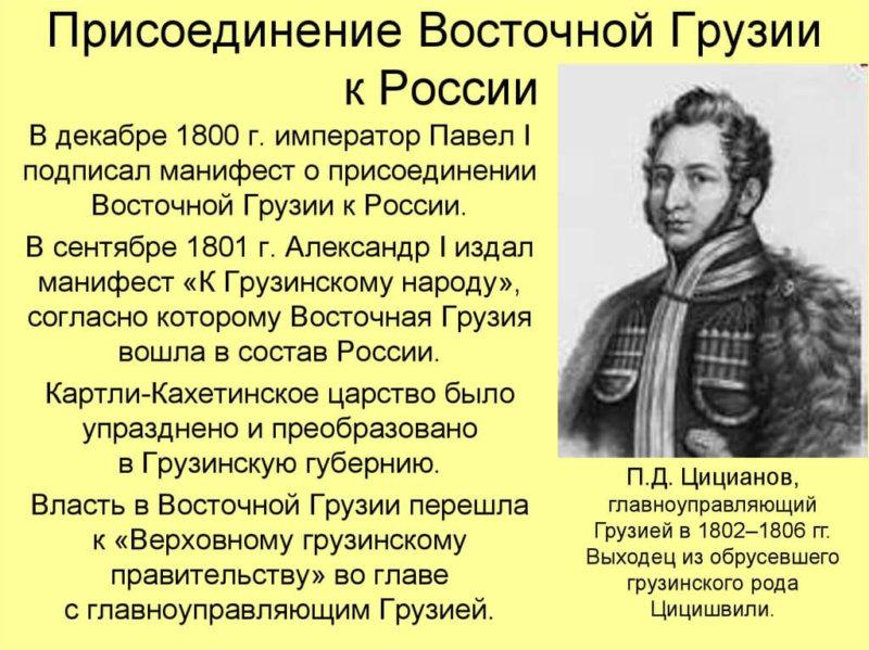 24 сентября 1801 года Восточная Грузия присоединена к России.